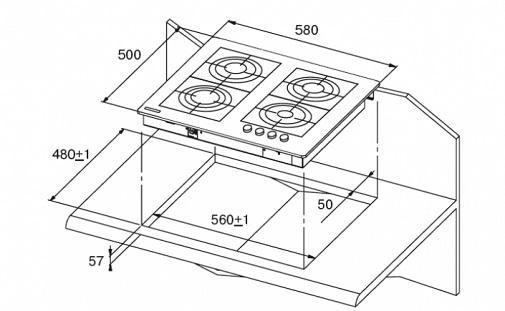 схема встройки варочной панели