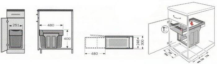 монтажная схема мусорной системы HAILO Tandem 3666-10